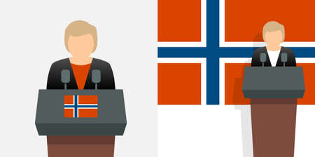 Norway prime minister and flag Stock Illustratie