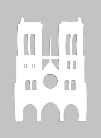 Notre Dame de Paris Cathedral cut out from paper