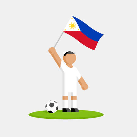 Soccer player in kit with philippines flag and ball Stock Illustratie