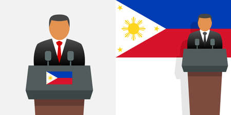 Philippines president and flag Stock Illustratie