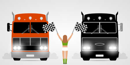 Racing trucks and girl with checkered flags Stock Illustratie