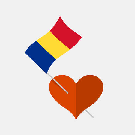 Heart icon with romania flag Stock Illustratie