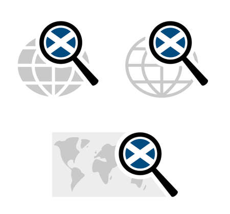 Search icons with scotland flag Stock Illustratie