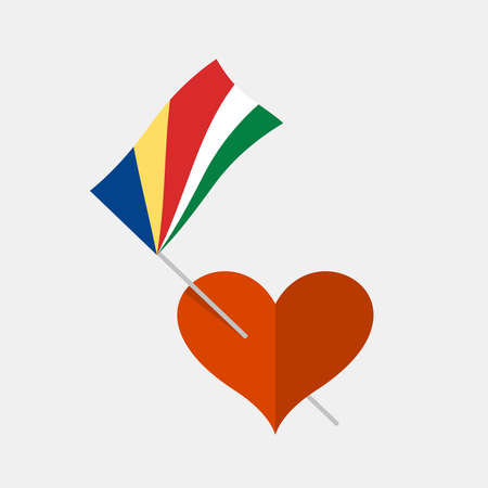 Heart icon with seychelles flag
