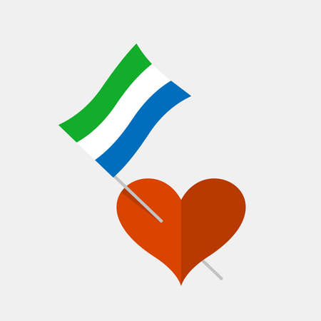 Heart icon with sierra leone flag