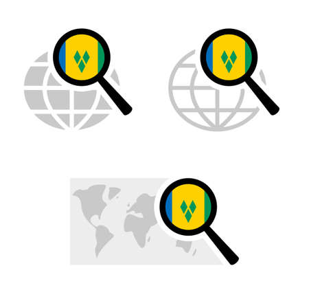 Search icons with saint vincent and the grenadines flag Stockfoto - 127965213