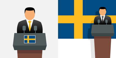 Sweden prime minister and flag Иллюстрация