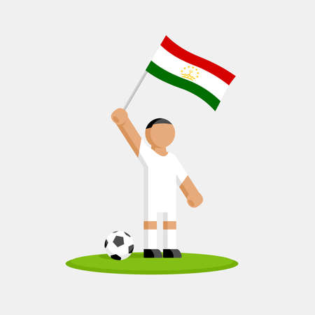 Soccer player in kit with tajikistan flag and ball Stockfoto - 127965252