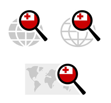 Search icons with tonga flag Stockfoto - 127965260