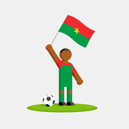 Soccer player in kit with burkina faso flag and ball