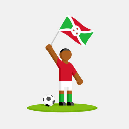 Soccer player in kit with burundi flag and ball Ilustracja