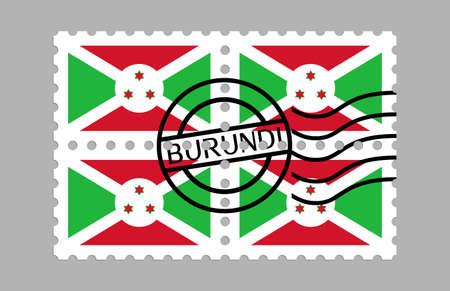 Burundi flag on postage stamps Illusztráció