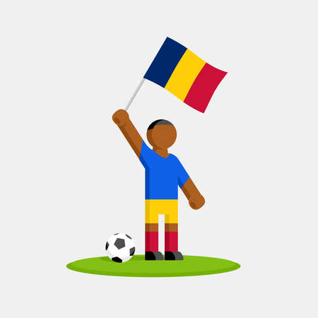 Soccer player in kit with chad flag and ball