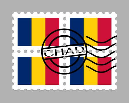 Chad flag on postage stamps Illusztráció