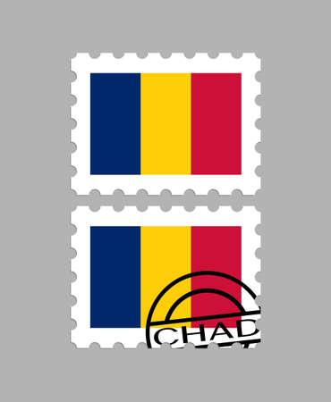 Chad flag on postage stamps 일러스트