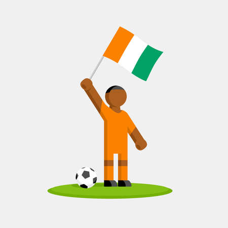 Soccer player in kit with ivory coast flag and ball