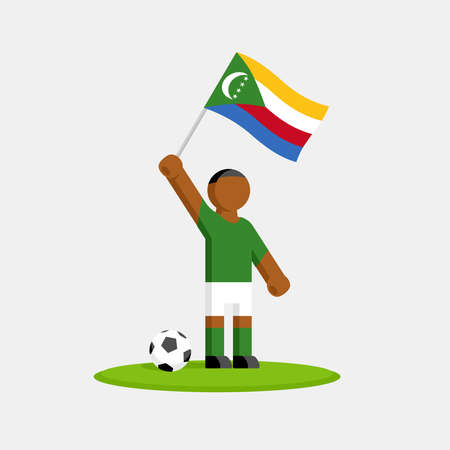 Soccer player in kit with comoros flag and ball