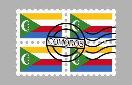 Comoros flag on postage stamps