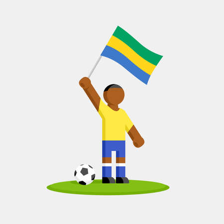 Soccer player in kit with gabon flag and ball Ilustracja