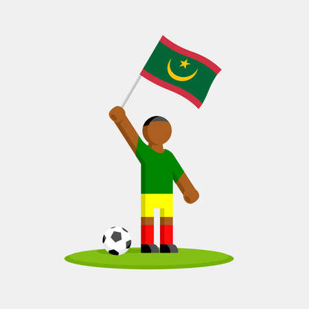 Soccer player in kit with mauritania flag and ball