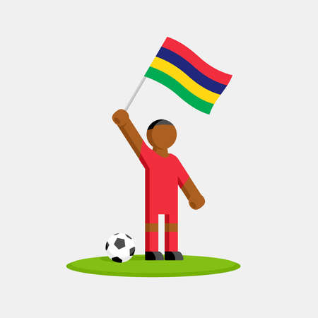 Soccer player in kit with mauritius flag and ball Ilustracja