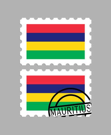 Mauritius flag on postage stamps Illustration