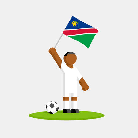 Soccer player in kit with namibia flag and ball