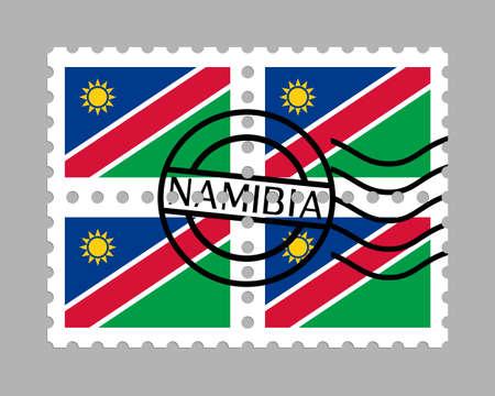 Namibia flag on postage stamps Ilustracja