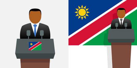 Namibia president and national flag Ilustracja