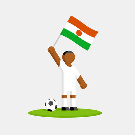 Soccer player in kit with republic of the niger flag and ball