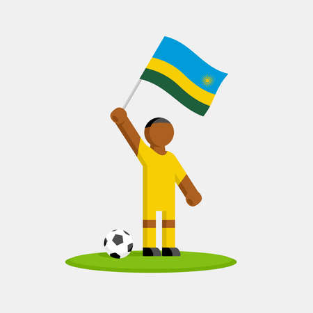 Soccer player in kit with rwanda flag and ball