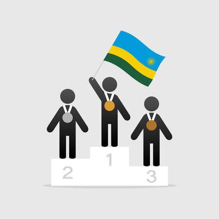 Champion with rwanda flag on winner podium