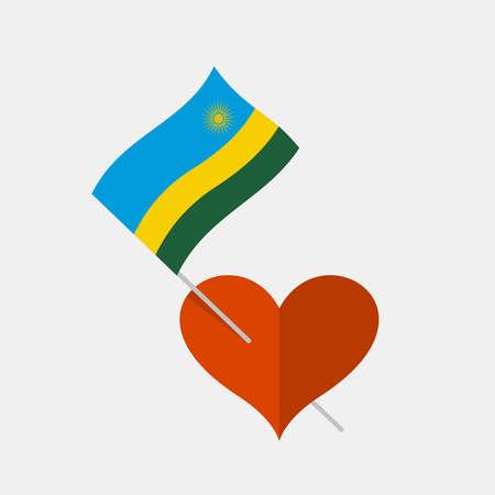 Heart icon with rwanda flag