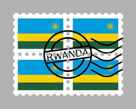 Rwanda flag on postage stamps