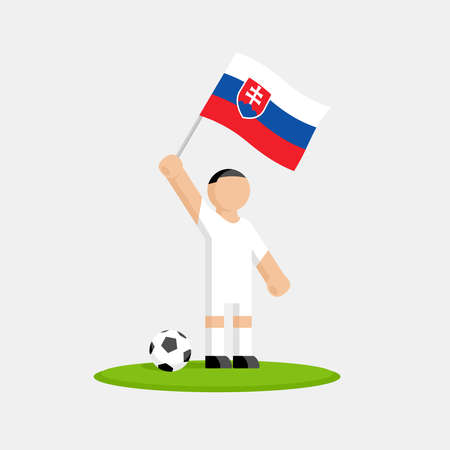 Soccer player in kit with slovakia flag and ball