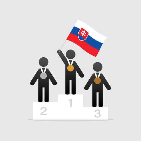 Champion with slovakia flag on winner podium