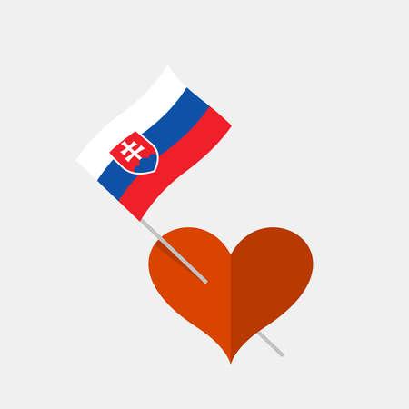 Heart icon with slovakia flag Ilustracja