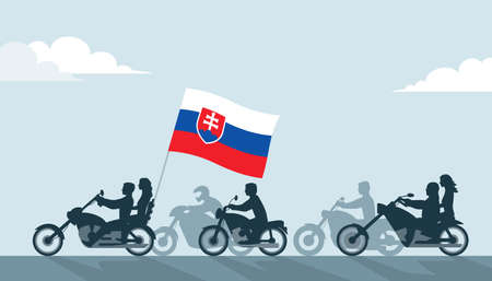 Bikers on motorcycles with slovakia flag