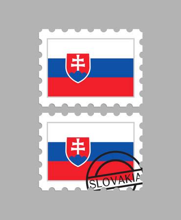 Slovakia flag on postage stamps Ilustracja