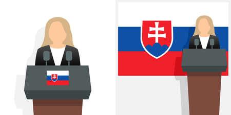 Slovakia president and national flag Ilustracja