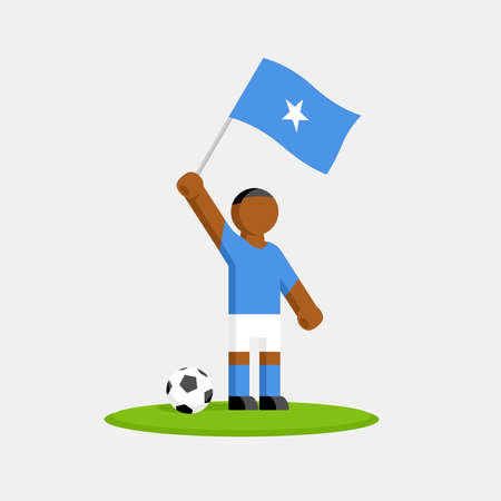 Soccer player in kit with somalia flag and ball