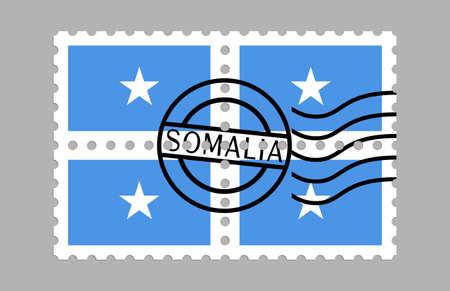 Somalia flag on postage stamps Illusztráció