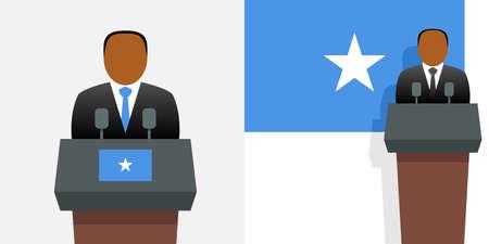 Somalia president and national flag