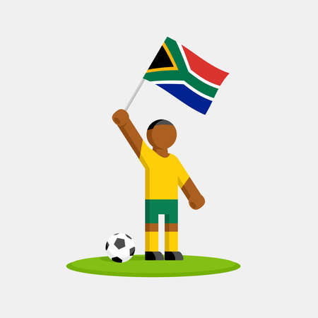 Soccer player in kit with south africa flag and ball