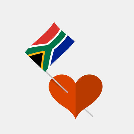 Heart icon with south africa flag
