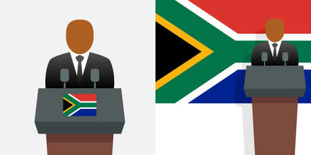 South africa president and national flag Ilustracja