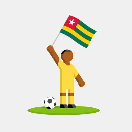 Soccer player in kit with togo flag and ball