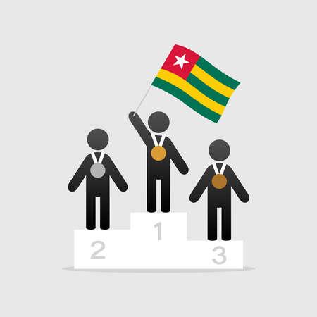 Champion with togo flag on winner podium