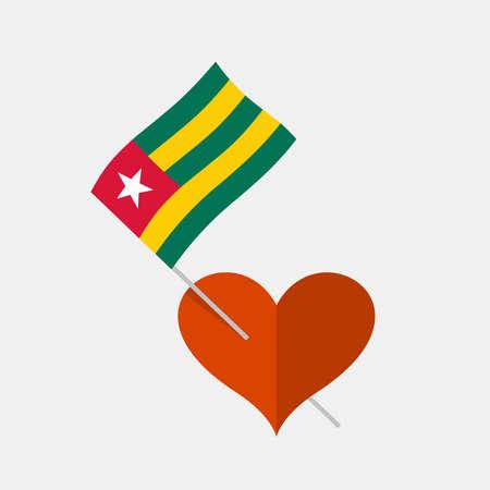 Heart icon with togo flag Ilustracja