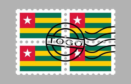 Togo flag on postage stamps Ilustracja